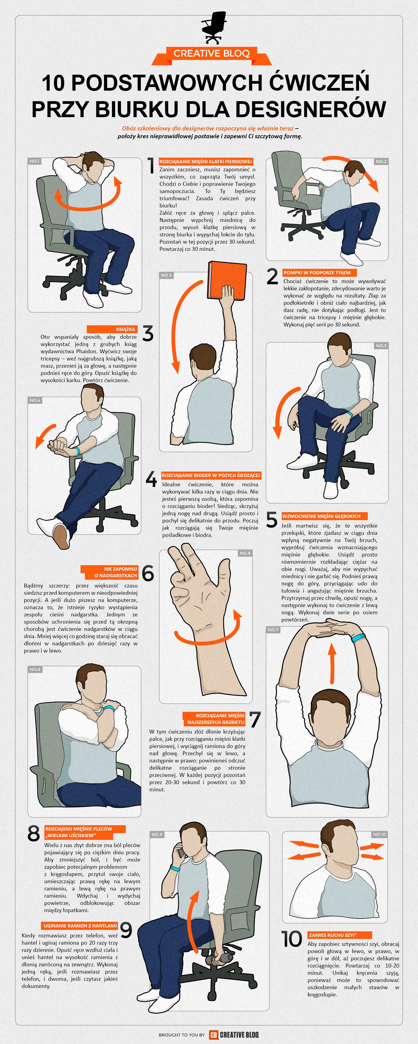 10 podstawowych ćwiczeń przy biurku dla designerów